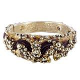 Bracelete do ouro com seda Fotografia de Stock
