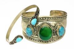 Bracelete dourado com pedras Imagens de Stock