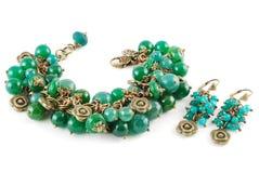 Bracelete e brincos do jade Imagem de Stock