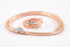 Bracelete e colar dourados da serpente fotografia de stock royalty free