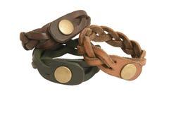 Braceletes de couro feitos a mão imagens de stock royalty free