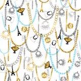 Braceletes do encanto e alinhador longitudinal sem emenda da jóia Imagem de Stock