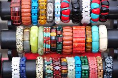 Bracelets. Different kinds of bracelets for sale in market Royalty Free Stock Photography
