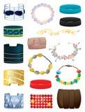 Bracelets. Set of different bracelets on white background Royalty Free Stock Image