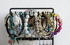 Bracelets. Colorful bracelets on a accessoiries holder Stock Image