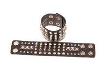 Bracelets de cuir de style de roche Photo stock
