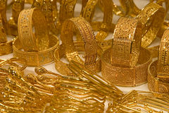 Bracelets, Dubai Gold Souq stock images
