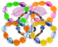 Bracelets and earrings made of handmade glass. Collage Royalty Free Stock Photography