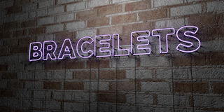 BRACELETS - Glowing Neon Sign on stonework wall - 3D rendered royalty free stock illustration Stock Image