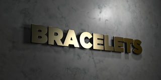 Bracelets - Gold text on black background - 3D rendered royalty free stock picture Stock Photo