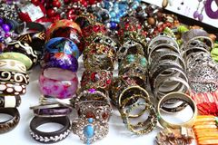 Bracelets jewelry showcase shop bargain Royalty Free Stock Photo