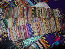 Bracelets and necklaces. Peruvian hand made bracelets and necklaces stock images