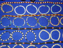 Bracelets and necklaces. Peruvian hand made bracelets and necklaces royalty free stock photography