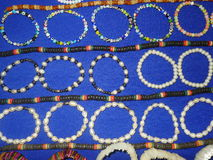 Bracelets and necklaces. Peruvian hand made bracelets and necklaces in different styles and colors stock photo