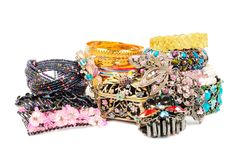 Bracelets over white Royalty Free Stock Photos