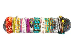 Bracelets overr white Royalty Free Stock Photo