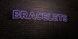 BRACELETS -Realistic Neon Sign on Brick Wall background - 3D rendered royalty free stock image Stock Photos