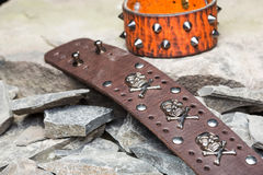 Bracelets with spikes and skulls Royalty Free Stock Images