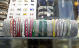 Bracelets in a store window Royalty Free Stock Images