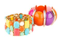 Bracelets. Stylish bracelets with colorful stones isolated on white background Stock Images