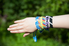 Bracelets from threads Royalty Free Stock Photos