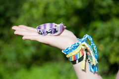 Bracelets from threads Royalty Free Stock Image