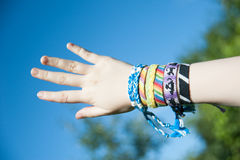 Bracelets from threads Royalty Free Stock Images