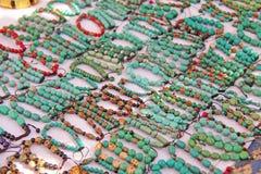 Bracelets turquoise stone on the market in India, Anjuna. Gift s stock photo