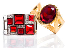 Bracelets With Ruby Isolated Royalty Free Stock Images