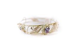 Bracellet de prata feito à mão luxuoso Foto de Stock Royalty Free
