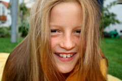 Braces and hair. Young girl with braces and hair in front of her face Stock Images