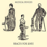 Braces for knee, medical vintage engraving Stock Photography
