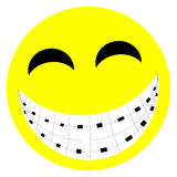 Braces Smile. A cartoon face, laughing and showing braces Stock Image