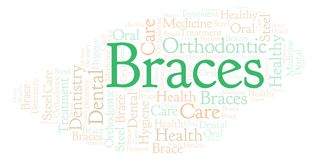 Braces word cloud. Wordcloud made with text only stock images