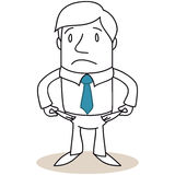 Brach den Geschäftsmann, der leere Taschen zeigt Lizenzfreies Stockfoto