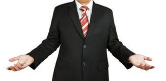 Brach den Geschäftsmann, der um Lösungen oder Rat bittet Stockbilder