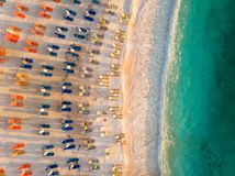 Brach with sunchairs and umbrellas in Greek Island Thasos, Aegean Sea. Brach with sun chairs and umbrellas in Greek Island Thasos, Aegean Sea. Thasos or Thassos royalty free stock photo
