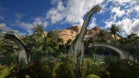 Brachiosaurus against timelapse clouds, seamless loop, stock footage. Video royalty free illustration