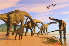 Brachiosaurus Beach Royalty Free Stock Images