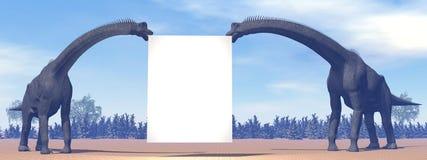 Brachiosaurus dinosaurs and blank sign - 3D render royalty free illustration