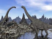 Brachiosaurus dinosaurs - 3D render royalty free illustration