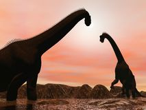 Brachiosaurus dinosaurs by sunset - 3D render royalty free illustration