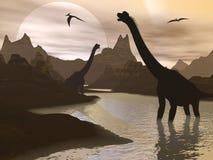 Brachiosaurus dinosaurs in water - 3D render stock illustration
