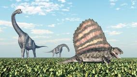 Brachiosaurus e Dimetrodon ilustração do vetor