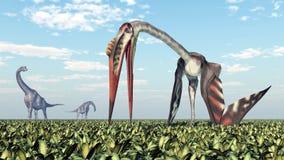 Brachiosaurus e Quetzalcoatlus ilustração stock