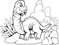 Brachiosaurus préhistorique mignon, livre de coloriage drôle d'illustration illustration de vecteur