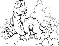 Brachiosaurus prehistórico lindo, libro de colorear divertido del ejemplo ilustración del vector