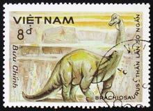 Brachiosaurus, serie poświęcać prehistoryczni zwierzęta około 1984, Zdjęcie Stock