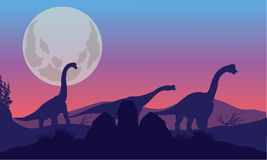 Brachiosaurus of silhouette with moon Royalty Free Stock Image
