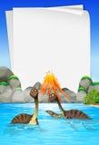Brachiosaurus swimming in the lake Stock Photos